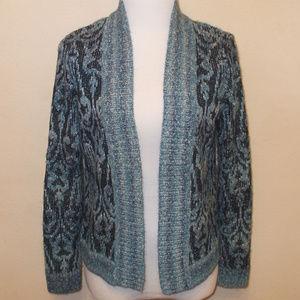 Beautiful Blue Open Front Cardigan Sweater